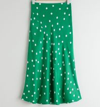 """& Other Stories"" Polka Dot Satin Midi Skirt Green"
