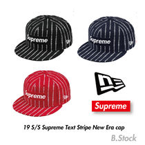 19S S  国内発送 Supreme x New era Text Stripe Cap 41ce025e0e66