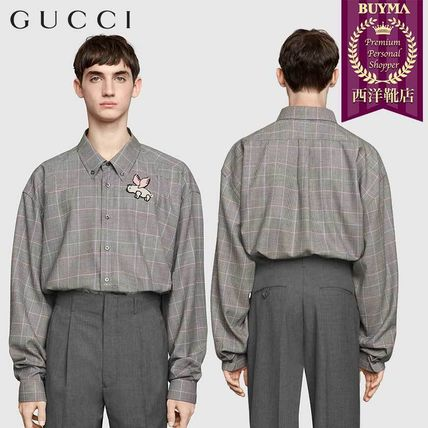 33711afd BUYMA|【正規品保証】GUCCI☆19春夏☆OVERSIZE WOOL SHIRT WIHT PATCH ...