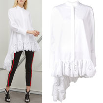 19SS AM521 ASYMMETRIC COTTON BLOUSE WITH BRODERIE ANGLAISE