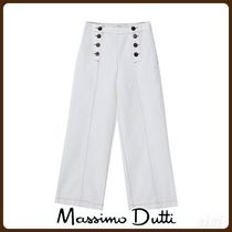 MassimoDutti♪CULOTTE FIT COTTON TROUSERS WITH TOPSTITCHING