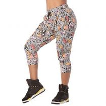 ズンバ I Want My Zumba Cropped Harem Pants Wear It Out White