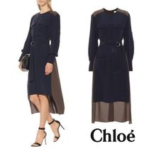 CHLOE Silk midi dress Brown Blue