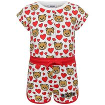 Girls White Teddy Hearts Playsuit