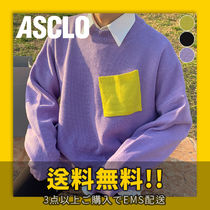 ASCLO(エジュクロ) ニット・セーター ★ASCLO★ Draw Color Combination Pocket Knit