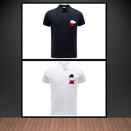 Moncler**Modern polo shirt with moon patch**NAVY/ WHITE