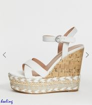 ★ASOS★New Look cork and espadrille wedges in white