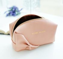 【BLANC BLACK】Ribbon Rectangular Cosmetic Pouch [2color]