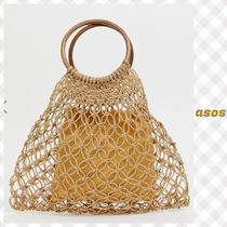 South Beach woven grab bag with wooden handle