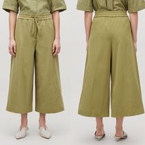 """COS"" WIDE-LEG DRAWSTRING TROUSERS OLIVE GREEN"