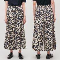"""COS"" PRINTED ELASTIC WIDE-LEG TROUSERS DEEPNAVY/CREAM"