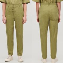 """COS"" BUTTON-UP COTTON CHINOS OLIVE GREEN"