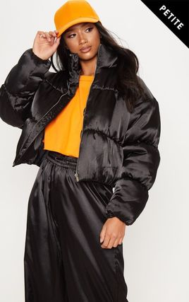 Petite Black Satin Puffer Coat