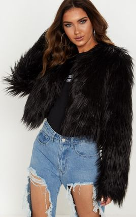 Liddie Black Faux Fur Shaggy Cropped Jacket