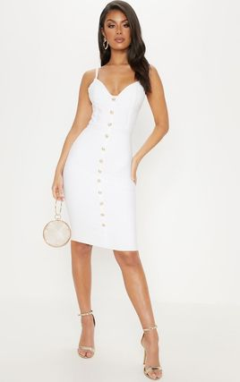 White Bandage Button Detail Midi Dress