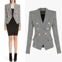 BAL374 HOUNDSTOOTH COTTON DOUBLE BREASTED JACKET