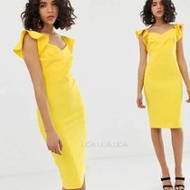 国内発送ASOS/River Island bodycon dress in bright yellow