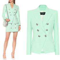 BAL384 WOVEN COTTON DOUBLE BREASTED JACKET