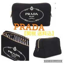 【関税 送料込】PRADA Logo canvas cosmetics case