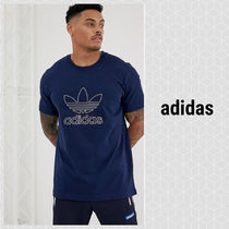 adidas Originals trefoil outline t-shirt in navy