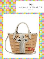 ANYA HINDMARCH/The Neeson mini leather and straw tote bag