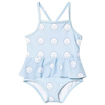 Mild Blue and Off-White happy Face Swimsuit