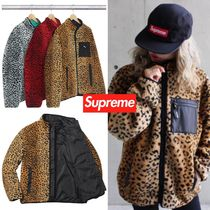 FW17 Supreme Leopard Fleece Reversible Jacket