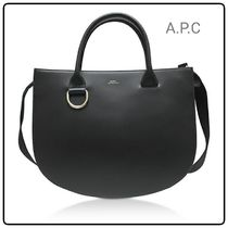 【A.P.C】Marion Black Leather Tote Bag