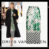 【Dries Van Noten】Floral柄 striped crepe and organza skirt