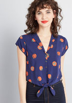 Retro Renewal Collared Blouse