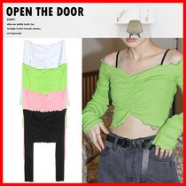 ☆人気☆【OPEN THE DOOR】☆Frill Off Shoulder Crop T☆4色☆