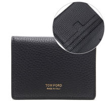 TOM FORD ★ ゴールド ロゴ メンズカードケース_Y0272T CP9 BLK