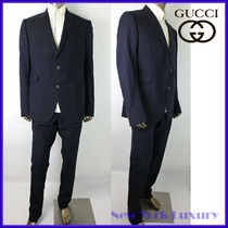 GUCCI★素敵!Dark Blue Cotton Wool Polka Dot Suit Sz.58