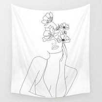 Minimal Line Art Woman with Flowers Wall Tapestry