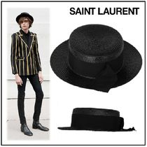 SAINT LAURENT ◇ SMALL BOATER STRAW HAT☆GROSGRAIN RIBBON