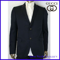 GUCCI★素敵!Blue Cotton Drill Jacket w/red Bee Embroidery
