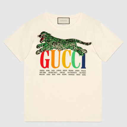 GUCCI Tシャツ・カットソー 新作★ グッチ Oversize T-shirt with Gucci Cities and tiger(2)