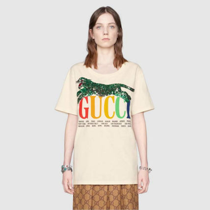 GUCCI Tシャツ・カットソー 新作★ グッチ Oversize T-shirt with Gucci Cities and tiger(3)
