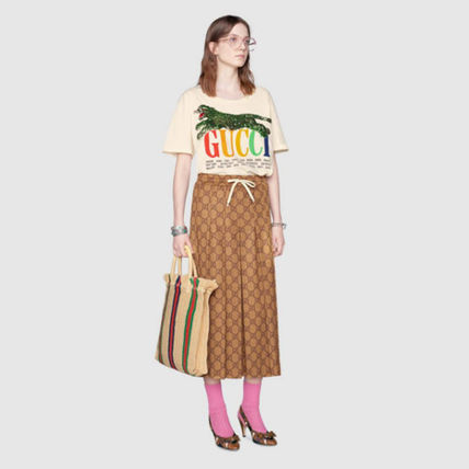 GUCCI Tシャツ・カットソー 新作★ グッチ Oversize T-shirt with Gucci Cities and tiger(6)