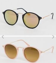 ASOS DESIGN 2 pack round sunglasses with skinny metal nose