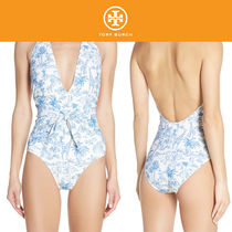 【国内発送・関税込】Printed Tie Front One-Piece Swimsuit