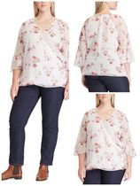 ( PLUSサイズ  / 日本未入荷)Floral Georgette Wrap Top
