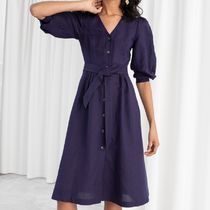 """""""& Other Stories""""Belted Linen Blend Midi Dress Purple"""