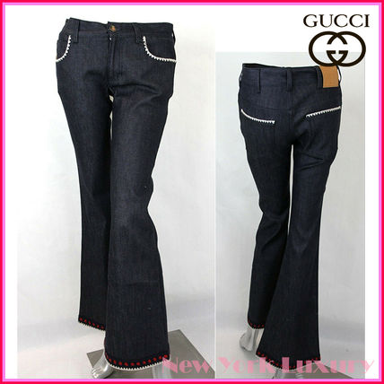 GUCCI デニム・ジーパン GUCCI★グッチ★素敵!Dark Blue Cotton Short Flare Denim Pant