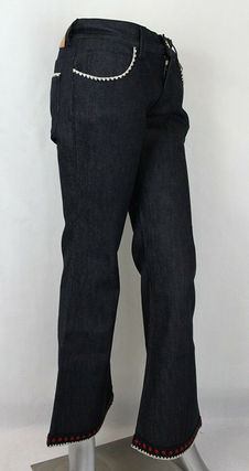 GUCCI デニム・ジーパン GUCCI★グッチ★素敵!Dark Blue Cotton Short Flare Denim Pant(4)
