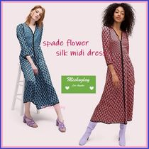 【kate spade】華やか上品♪ spade flower silk midi dress ★