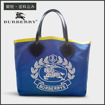 【BURBERRY】 THE GIANT TOTE リバーシブル トートバッグ 青