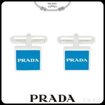 PRADAプラダ 2LG410 SILVER AND ENAMEL CUFFLINKS