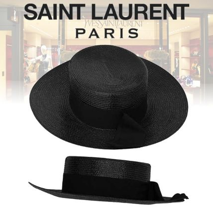 285a3a6095e Saint Laurent ハット 19SS サンローラン LARGE BOATER HAT IN VARNISHED STRAW ハット ...
