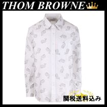 THOM BROWNE whale emboidered cotton Oxford shirt